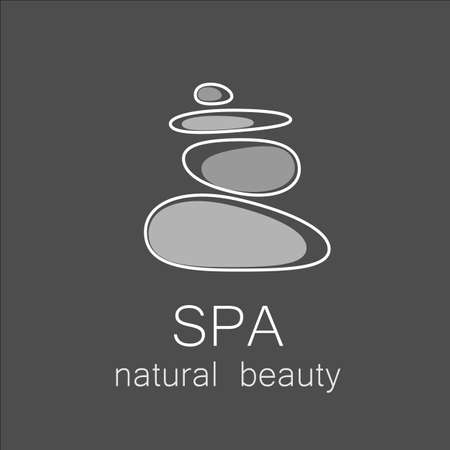 and harmony: SPA - template logo for Spa lounge, beauty salon, massage area, yoga center, natural cosmetics etc.. The balancing cairn - a symbol of harmony, tranquility and relaxation.