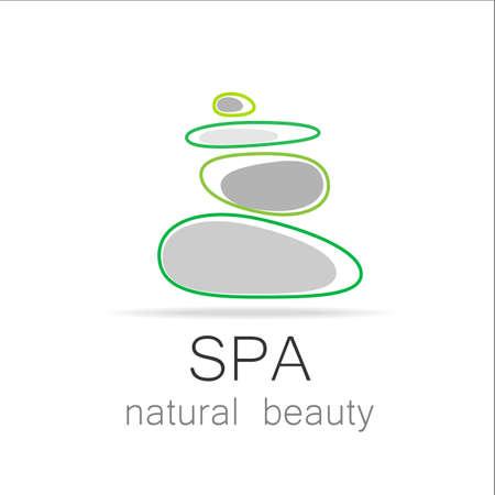 tranquility: SPA - logotipo de la plantilla para el sal�n Spa, sal�n de belleza, zona de masajes, centro de yoga, cosm�tica natural, etc .. El moj�n de equilibrio - un s�mbolo de la armon�a, la tranquilidad y la relajaci�n.