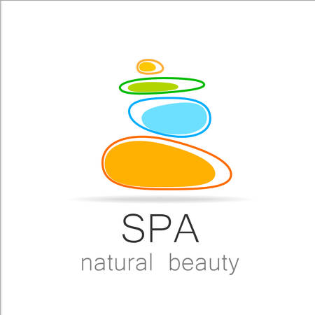 tranquility: SPA - template logo for Spa lounge, beauty salon, massage area, yoga center, natural cosmetics etc.. The balancing cairn - a symbol of harmony, tranquility and relaxation.