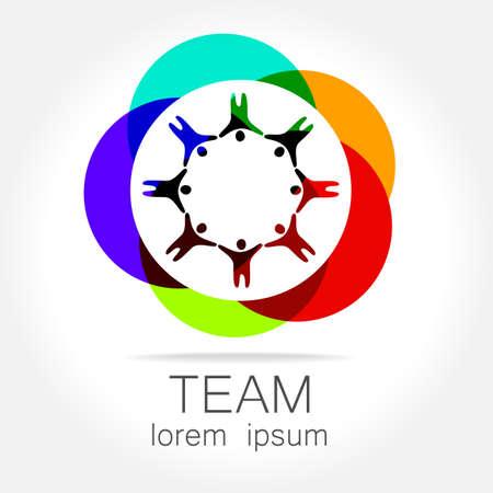 juntos: Equipo plantilla de logotipo. Social media marketing idea. Símbolo corporativo. Red social.