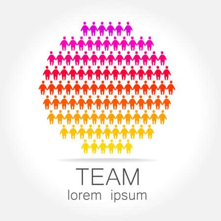 logo marketing: Team logo template. Social media marketing idea.   Corporate symbol. Social network. Illustration