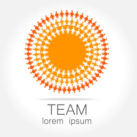 team meeting: Team logo template. Social media marketing idea.   Corporate symbol. Social network. Illustration