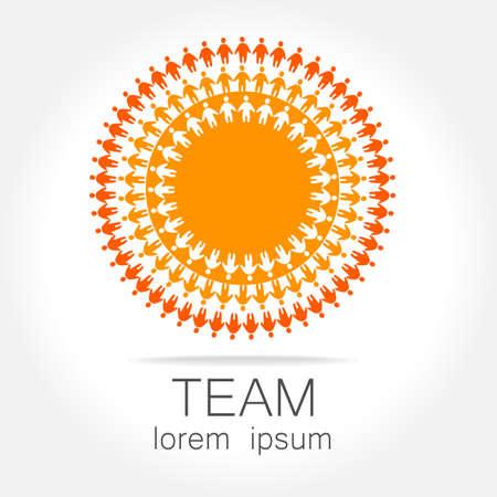 Team logo template. Social media marketing idea.   Corporate symbol. Social network. Ilustração