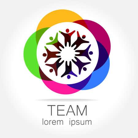 girotondo bambini: Squadra logo modello. Social idea di marketing dei media. Simbolo aziendale. Sociale network.The simbolo della comunit� e associazioni.