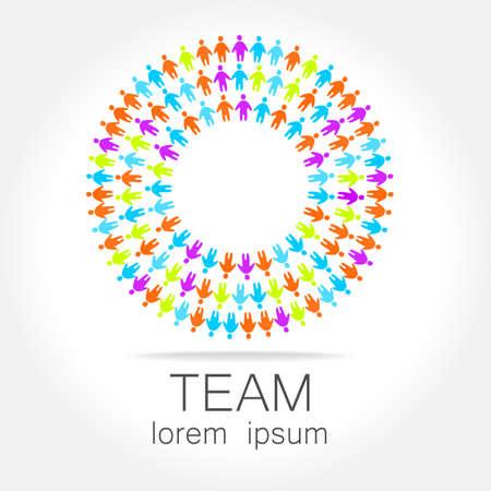 business group: Team logo template. Social media marketing idea. Corporate symbol. Social network.The symbol of community and association. Illustration