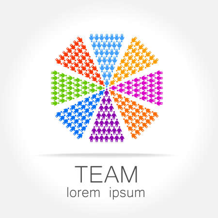 logo marketing: Team logo template. Social media marketing idea. Corporate symbol. Social network.The symbol of community and association. Illustration