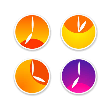 midday: Time - a symbol clock. The clock shows the time and position of the sun: and the dawn of the morning, afternoon, evening and sunset. Simple template for design.