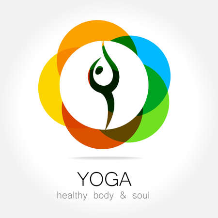 balance icon: Yoga - template logo. Sign of yoga asana.