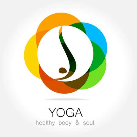 icono deportes: Yoga - logotipo de la plantilla. Signo de asanas de yoga.