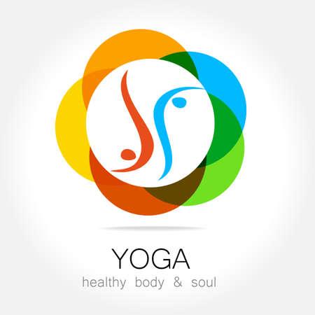 saludable logo: Yoga - logotipo de la plantilla. Signo de asanas de yoga.