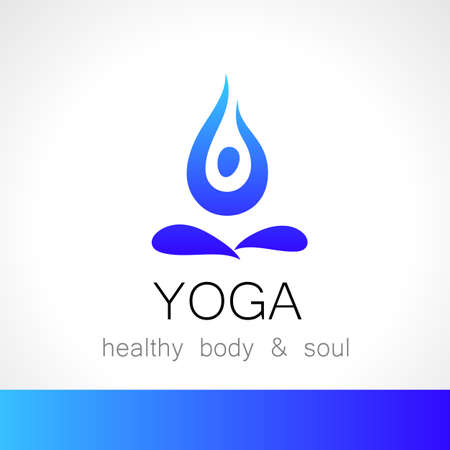 meditation man: Yoga logo - design template. Health Care, Beauty, Spa, Relax, Meditation, Nirvana concept icon.