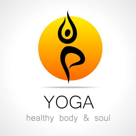 icono deportes: Yoga logo - plantilla de diseño. Cuidado de la Salud, Belleza, Spa, Relax, icono Concepto de la meditación, el Nirvana.