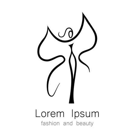 Donna - farfalla, idea-segno per il centro delle donne, negozio di moda, salone di bellezza, parrucchiere.