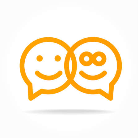 speech icon: Happy smile - face chat speech bubble icon. Template for design.