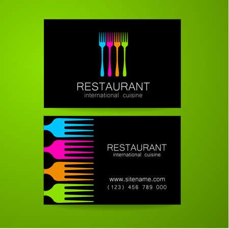 logos restaurantes: Insignia del restaurante. Diseño de la plantilla. El concepto de restaurantes de estilo corporativas que sirven cocina internacional. Un ejemplo de una tarjeta de visita. Vectores