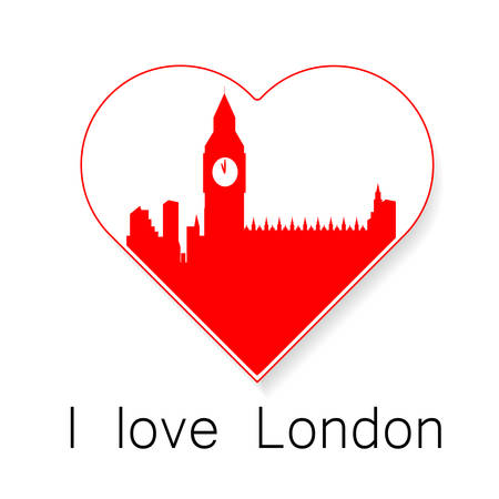 i label: I love London - a template to mark. The idea for the label design, printing on clothing, decor souvenirs. Illustration