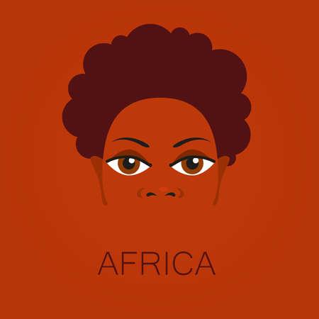アフリカ人の肖像画。アフリカのテーマのポスター、イラストのテンプレート デザインのアイデア。  イラスト・ベクター素材