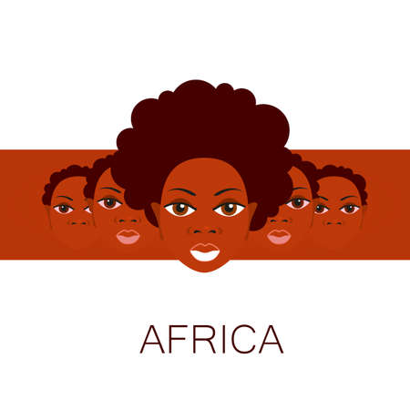 negras africanas: Retrato de los africanos. Idea de diseño de plantilla para las ilustraciones, pósters sobre temas africanos.