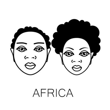african american woman silhouette: Portrait of Africans. Template design idea for the illustrations, posters on African themes.