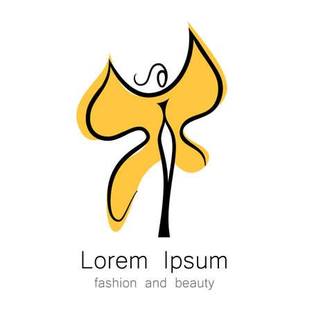 donna farfalla: Donna - farfalla, idea-segno per il centro delle donne, negozio di moda, salone di bellezza, parrucchiere.