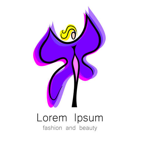 Woman - butterfly, idea-sign for the womens center, fashion store, beauty salon, hairdressing salon. Illustration