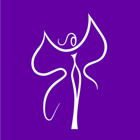 accessory: Woman - butterfly, idea-sign for the womens center, fashion store, beauty salon, hairdressing salon. Illustration