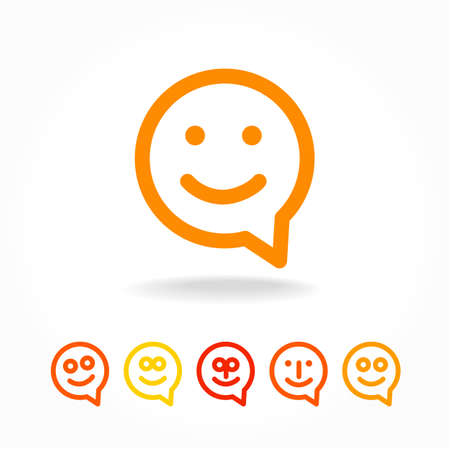 Happy smile - face chat speech bubble icon. Template for design. Banco de Imagens - 44648851