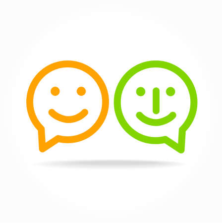 happy smile: Happy smile - face chat speech bubble icon. Template for design.