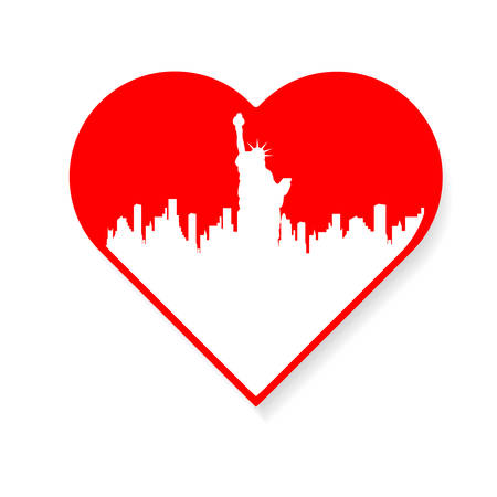 sky line: I love New York - a template to mark. The idea for the label design, printing on clothing, decor souvenirs. Illustration