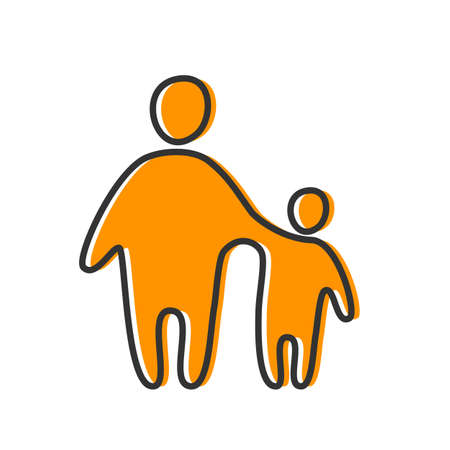 siluetas mujeres: Diseño de la plantilla de Padres de un icono. Símbolo de la protección, cuidado y amor por los niños.