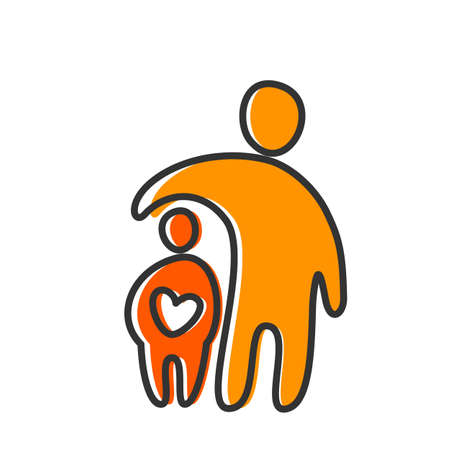 family with two children: Parent. Template design for an icon. Symbol of protection, care and love for children.