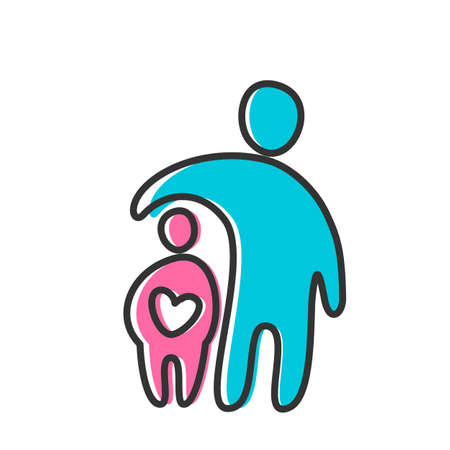 father and son: Parent Template design for an icon. Symbol of protection, care and love for children.