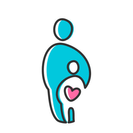 care symbol: Parent Template design for an icon. Symbol of protection, care and love for children.