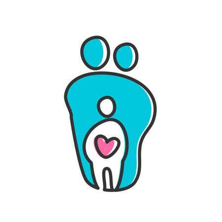 simbolo uomo donna: Design Template Parent per un'icona. Simbolo di protezione, la cura e l'amore per i bambini.