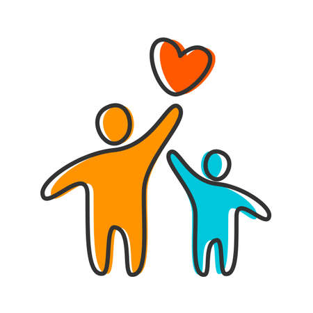 child couple: Parent Template design for an icon. Symbol of protection, care and love for children.