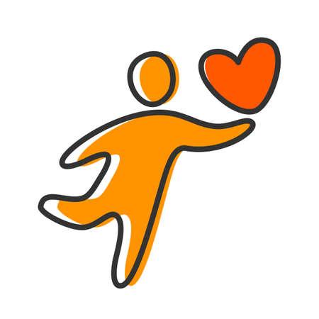 personas saludables: Persona con un corazón - la idea de una plantilla o un icono.