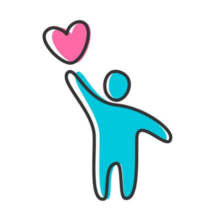 alegria: Persona con un corazón - la idea de una plantilla o un icono.