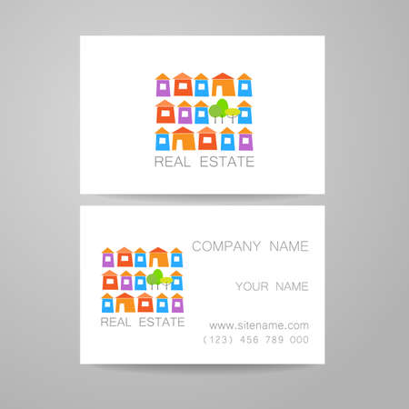 real business: Real Estate Template design of corporate identity. Business Card.