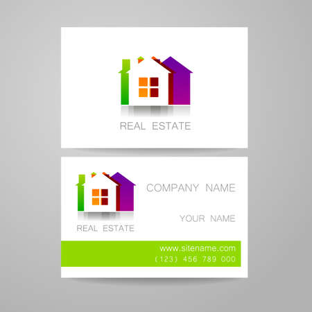 house icon: Real Estate Template design of corporate identity. Business Card.