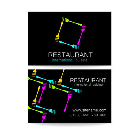 cuisine: Restaurant logo. Template design. The concept of corporate style restaurants serving international cuisine. An example of a business card.
