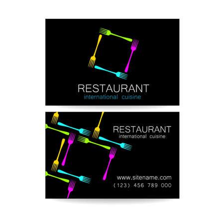 cuisine: Restaurant logo. Template design. The concept of corporate style restaurants serving international cuisine. An example of a business card.