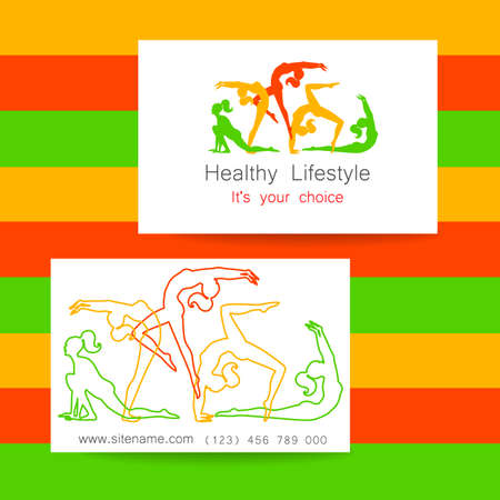 sports club: Fitness logo. Corporate design template business card sports club, fitness center, beauty salon and others.