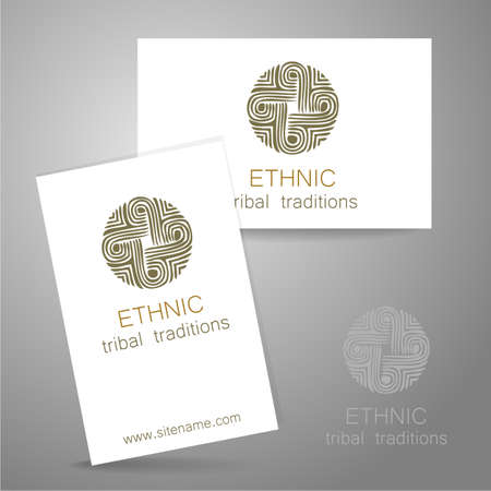 food store: Ethnic logo - a traditional symbol. Template design of corporate identity in the traditional style of ethnic shops, yoga studios, a center of cultural development, organic food store, natural cosmetics manufacturer and others.