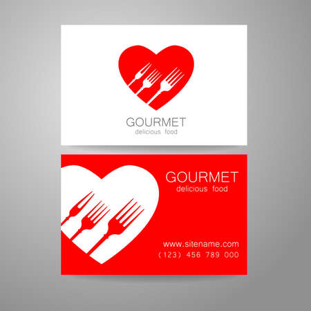 valentine card: Gourmet - restaurant logo. Design corporate brand and the business card of the restaurant with refined cuisine.