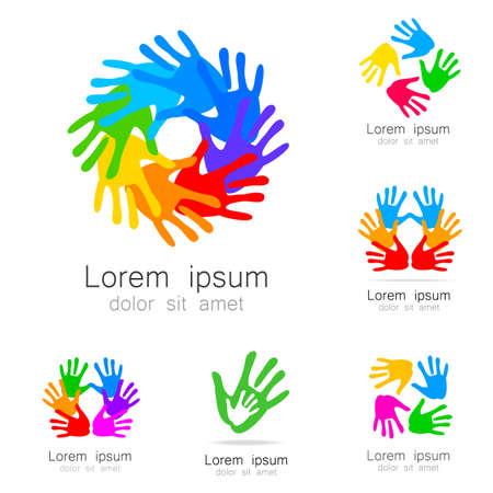 손 - 로고 템플릿 컬렉션입니다. 팀 로고, 회사, 조직, 재단, 사회 사업, 노동 조합 및 기타 사람들을위한 디자인 아이디어. 일러스트