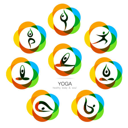 Yoga - Templates Collection. Signs Of Yoga Asana. Royalty Free
