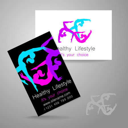 health club: Fitness logo. Corporate design template business card sports club, fitness center, beauty salon and others.