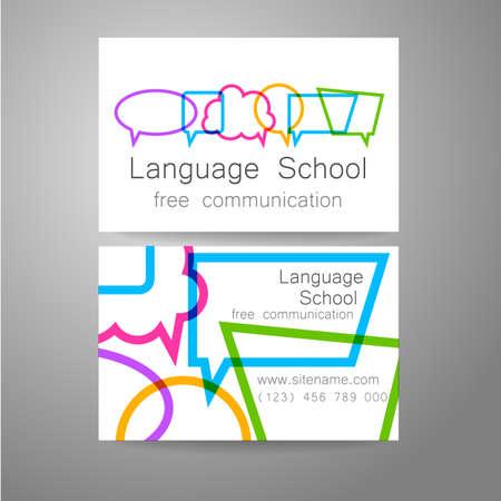 idiomas: Idioma logo de la escuela - una plantilla de diseño. La idea de la marca de diseño para la escuela, cursos, club hablando, centro de lingüística, la agencia de traducción. Tarjeta de visita del diseño de marca.
