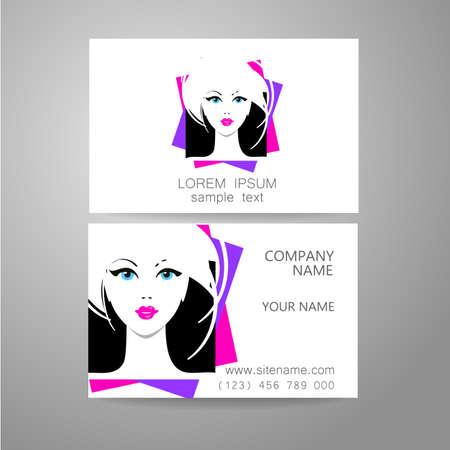 woman hair: Hair salon, hairdresser - template logo. Branded business card hair stylist. Illustration