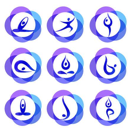 spiritual energy: Yoga - templates collection. Signs of yoga asana.